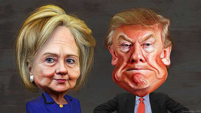 By DonkeyHotey (Hillary Clinton vs. Donald Trump - Caricatures) [CC BY-SA 2.0 (http://creativecommons.org/licenses/by-sa/2.0)], via Wikimedia Commons